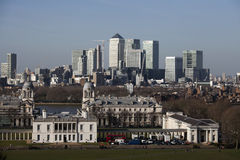 The magnificent view from the Greenwich Observatory taking in sights such as Docklands and City in London. Stock Images