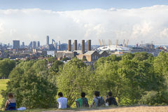 The magnificent view from the Greenwich Observatory taking in sights such as Docklands and the Royal Naval College in London. Stock Images