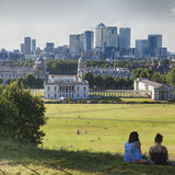 The magnificent view from the Greenwich Observatory taking in sights such as Docklands and the Royal Naval College in London. Stock Photos