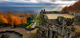 Magnificent view from Hercules monument, Wilhelmsh Royalty Free Stock Photography