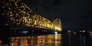 Magnificent view of Howrah bridge royalty free stock images