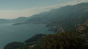 Magnificent view of Montenegrin bay on summer day. stock video