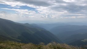 Magnificent view of a mountain ridge from the top of another mountain. stock video