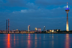 Magnificent view of night Dusseldorf Stock Photo