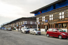 Magnificent view of Paro city in Bhutan. Paro, Bhutan - April 11, 2016: The city of Paro in Bhutan is a complex of traditional archictecture with richly Stock Image