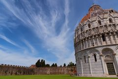 Magnificent daily view at the Pisa Baptistery of St. John, the largest baptistery in Italy, in the Square of Miracles Piazza dei Royalty Free Stock Photography