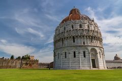 Magnificent daily view at the Pisa Baptistery of St. John, the largest baptistery in Italy, in the Square of Miracles Piazza dei Royalty Free Stock Photos