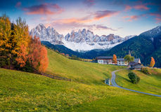 Magnificent view of Santa Maddalena village in front of the Geisler or Odle Dolomites Group stock image