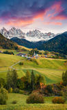 Magnificent view of Santa Maddalena village in front of the Geisler or Odle Dolomites Group. Colorful autumn sunset in Dolomite Al Stock Photography