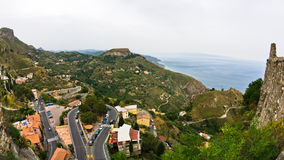Magnificent view of sicilian coast from Castelmola in Sicily Royalty Free Stock Photos