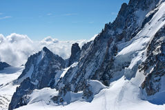 Magnificent view of the steep snowy cliffs Swiss Alps Stock Photography