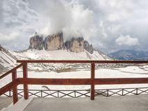 Magnificent view from terrace to symbol of Dolomite Alps - Tre Cime. royalty free stock photo