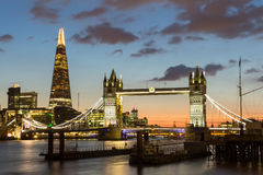 Magnificent view of Tower Bridge, the Shard and the River Thames. At night, London, Uk Royalty Free Stock Photo