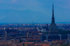 A magnificent view of  Turin with the Mole Antonelliana,the architectural symbol of Turin Royalty Free Stock Photos