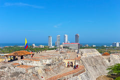 Magnificent views on the old walled town and Caribbean Sea from atop of the main city attraction. Royalty Free Stock Images