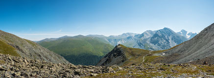 Magnificent views from the trail to the pass Karaturek. Trekking in the Altai Mountains Royalty Free Stock Image