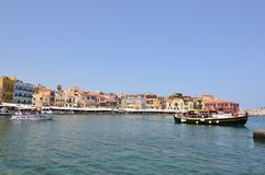 Magnificent Views Of Venetian Harbor Neighborhood And Its Hermitage In Chania With Two Beautifuls Ship In The Picture. History Arc royalty free stock images