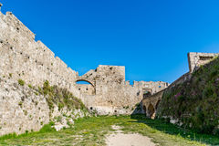 Magnificent walls of medieval city of Rhodes, Greece Stock Photo