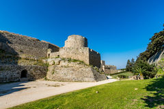 Magnificent walls of medieval city of Rhodes, Greece Royalty Free Stock Images