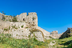 Magnificent walls of medieval city of Rhodes, Greece Stock Photos