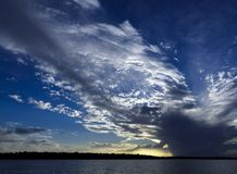 Magnificent white cloud display in blue sky. Australia. royalty free stock photography