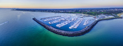 Magnificent wide aerial panorama of a beautiful Marina with moor Royalty Free Stock Images