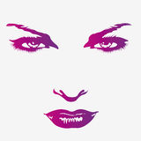 Magnificent woman face print Royalty Free Stock Images