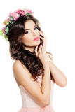 Magnificent Woman with Flowers Wreath Isolated. Stock Photo