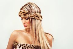 Magnificent woman in fur Stock Photo