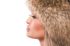 Magnificent woman in fur hat Stock Photo