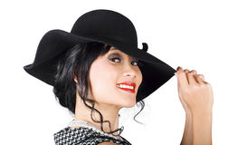 Magnificent woman with smile in fashionable sunhat Stock Photo