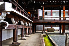 Amazing Buddhist wood architecture perspective in Kyoto, Japan Royalty Free Stock Images