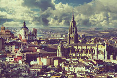 A magnificentview of medieval cathedral of Toledo Stock Image