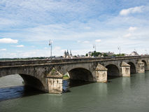 Magnificient Blois. The city of Blois from the other shore of Loire Royalty Free Stock Image