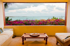 Magnificient Caribbean oceanview from room. The Caribbean Sea seen from a luxury lounge room stock images