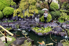 Magnificient japanese garden in Hasedera Temple Stock Photo