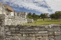 The magnificient Ruins of Tulum 2. Side view of the remains of a small Mayan temple in the Tulum complex in Mexico taken at sunset stock photos