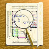 Magnified architectural plan. Magnifying a spot on an old architectural plan Royalty Free Stock Images