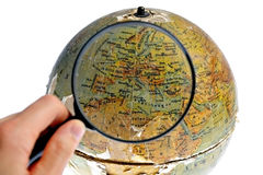 Magnified Europe on old rotating globe Stock Image