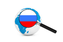 Magnified flag of Russia with Earth Globe Stock Image