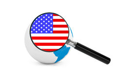 Magnified flag of USA with Earth Globe. On a white background stock image
