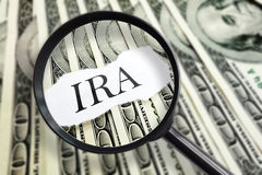 Magnified Individual Retirement Account. Magnified IRA message on hundred dollar bills Royalty Free Stock Photos