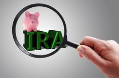 Magnified IRA and piggy bank royalty free stock image