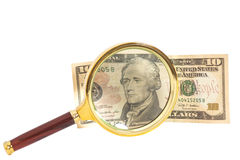 Magnified twenty dollar bill Stock Image