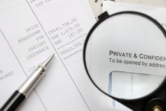Magnified words of private and confidential Royalty Free Stock Photography