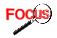Magnifier έννοια γυαλιού με το κόκκινο μουτζουρωμένο σημάδι εστίασης r διανυσματική απεικόνιση