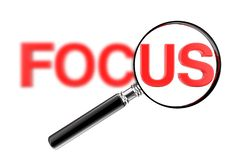 Magnifier έννοια γυαλιού με το κόκκινο μουτζουρωμένο σημάδι εστίασης r ελεύθερη απεικόνιση δικαιώματος