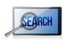 Magnifier και αναζήτηση σε μια τηλεφωνική οθόνη διανυσματική απεικόνιση