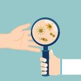 Magnifier και βακτηρίδια στον ανθρώπινο φοίνικα διάνυσμα διανυσματική απεικόνιση