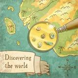 Magnifier που παρουσιάζει όμορφη φύση στον παλαιό χάρτη Στοκ Εικόνες